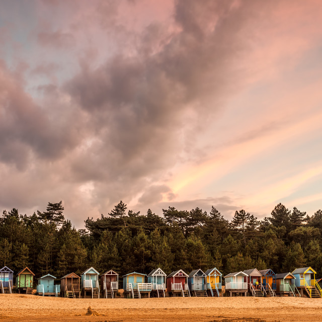 """Line of beach Huts"" stock image"