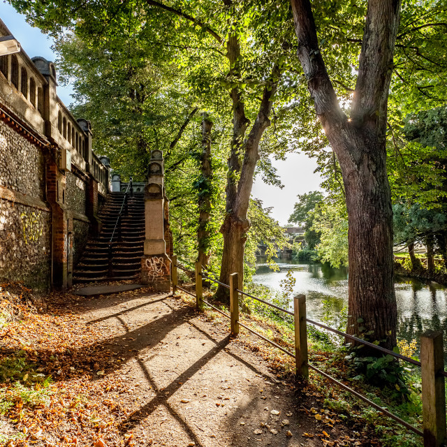 """Old Riverside Walk"" stock image"