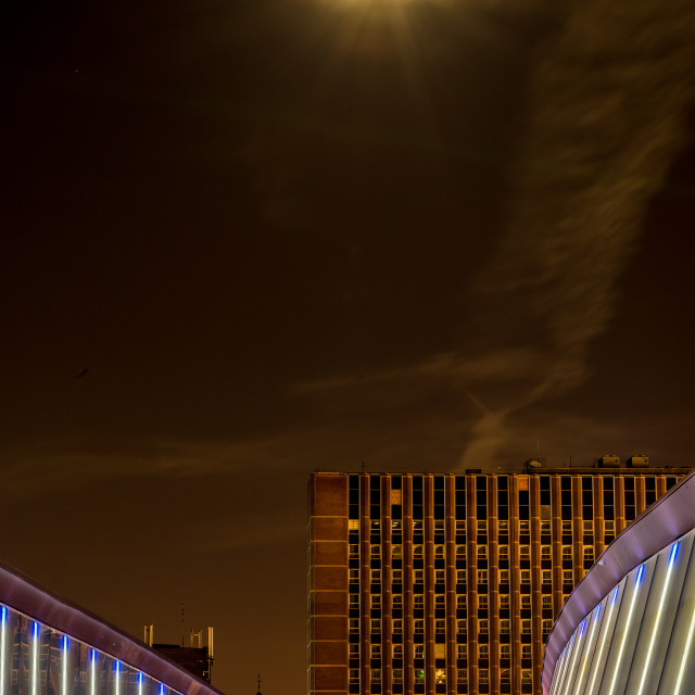 """""""Full Moon in the City"""" stock image"""