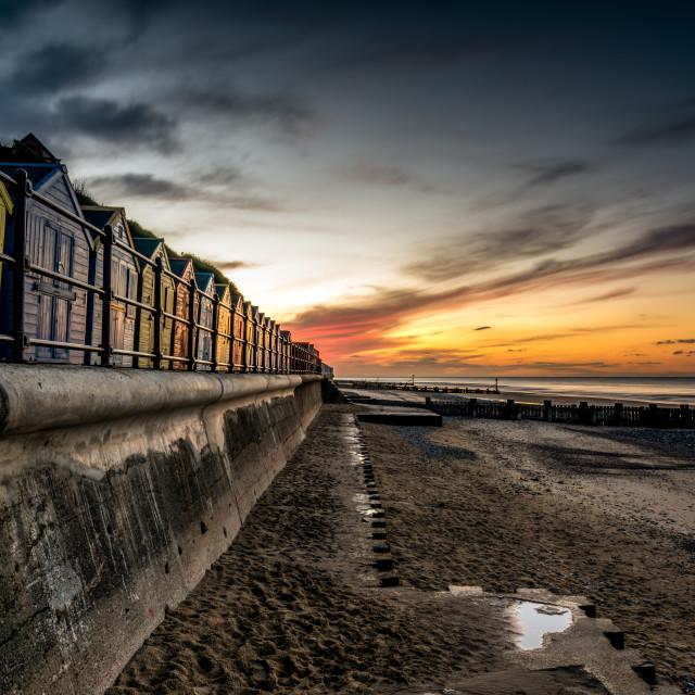 """Mundsley Beach Huts"" stock image"
