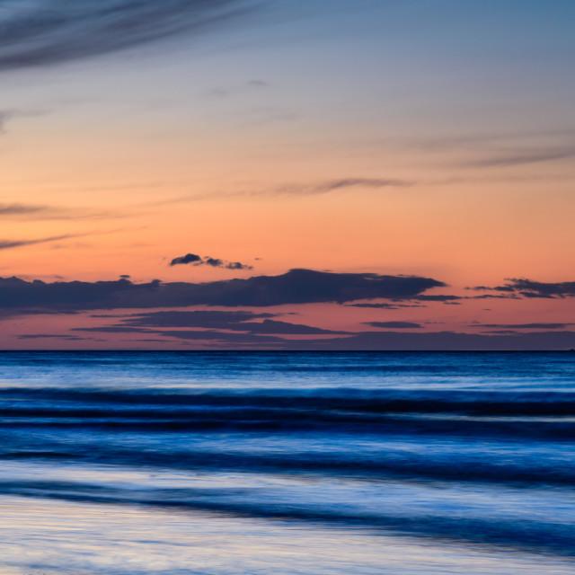 """""""Twilight on Mundsley Beach"""" stock image"""