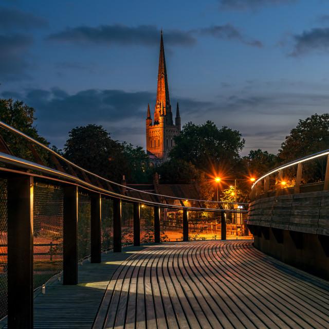 """Norwich Night Scene"" stock image"