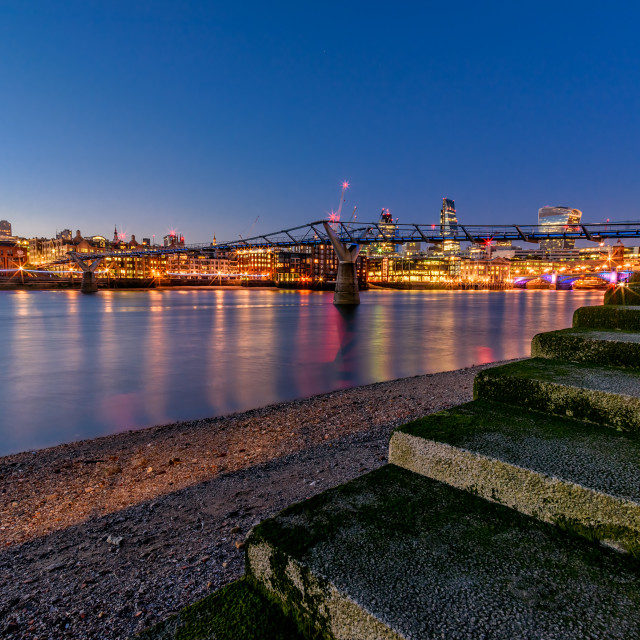 """Thames Steps at Night"" stock image"