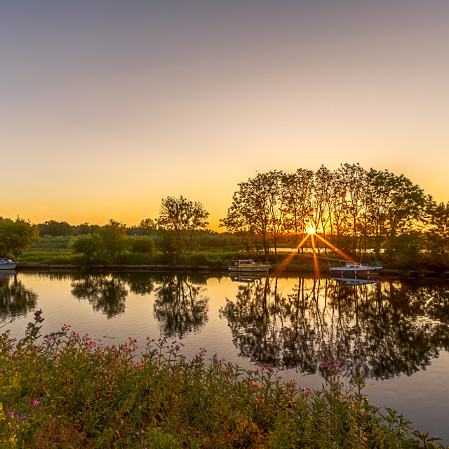 """Norfolk Broads Sunrise"" stock image"