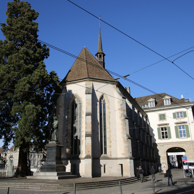 """Wasserkirche - Limmatquai, Zürich"" stock image"