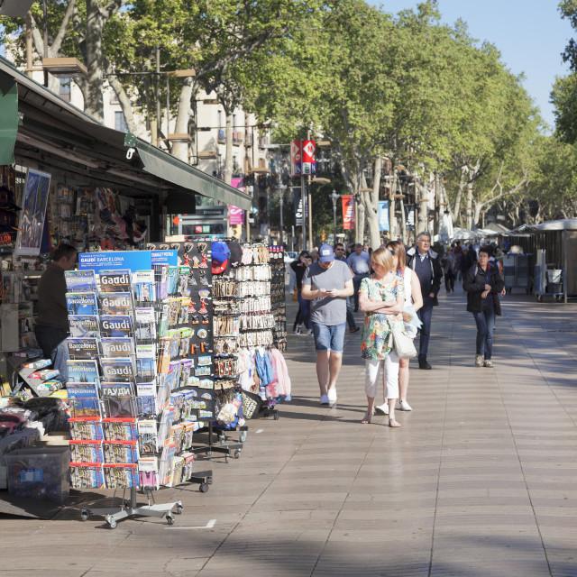 """Boulevard La Rambla (Les Rambles), Barcelona, Catalonia, Spain"" stock image"