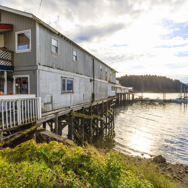 """""""Hoonah, cafe selling fresh local halibut, Tlingit Community, Icy Strait..."""" stock image"""