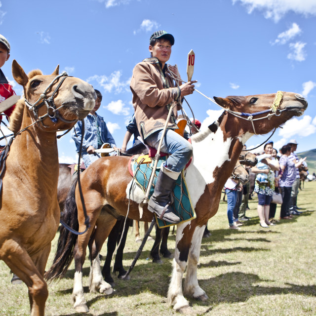 """""""Horses and young horsemen on their mark for this years 20 kms bareback horse..."""" stock image"""