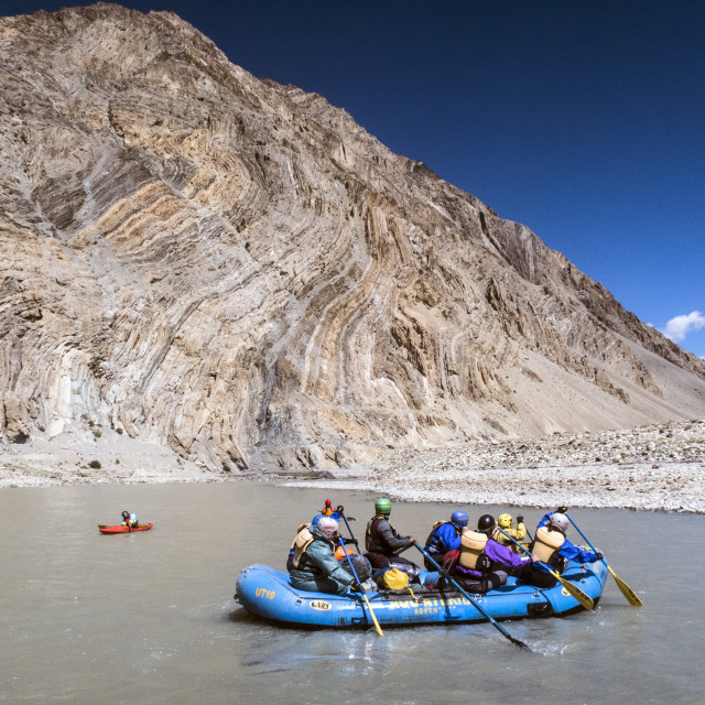 """Zanskar River Trip leaving Kharsha. Ladakh, India."" stock image"