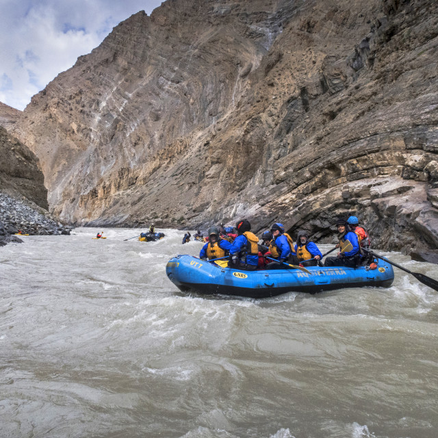 """Rafting through magnificent Zanskar Gorge. Ladakh, India."" stock image"