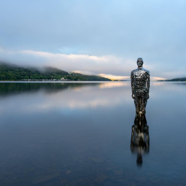 """Mirror Man of Loch Earn, Scotland"" stock image"