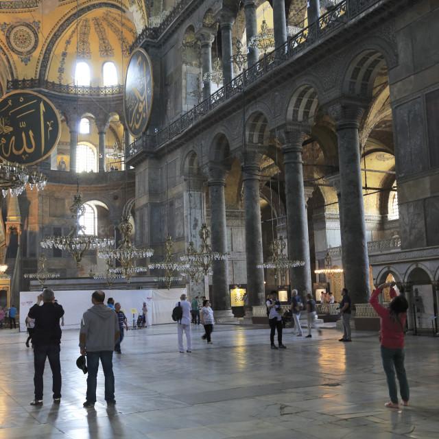 """""""Interior, Byzantine Architecture, Hagia Sophia, Aya Sofya, UNESCO World..."""" stock image"""