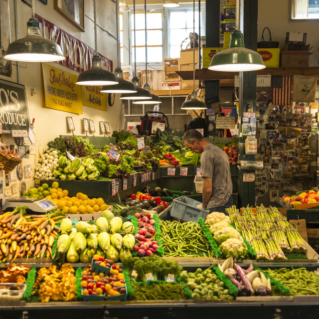 """Grocery stall in Farmers Market, Pike Place Market, Belltown District,..."" stock image"