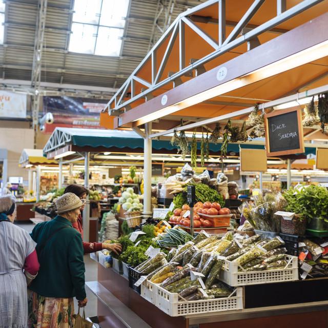 """Interior of Riga Central Market, Riga, Latvia, Baltic States, Europe"" stock image"