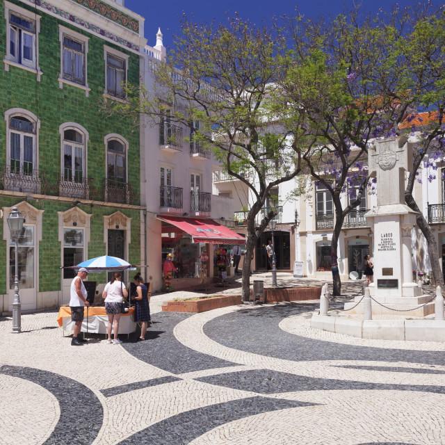 """Praca Luis de Camoes Square, Lagos, Algarve, Portugal"" stock image"