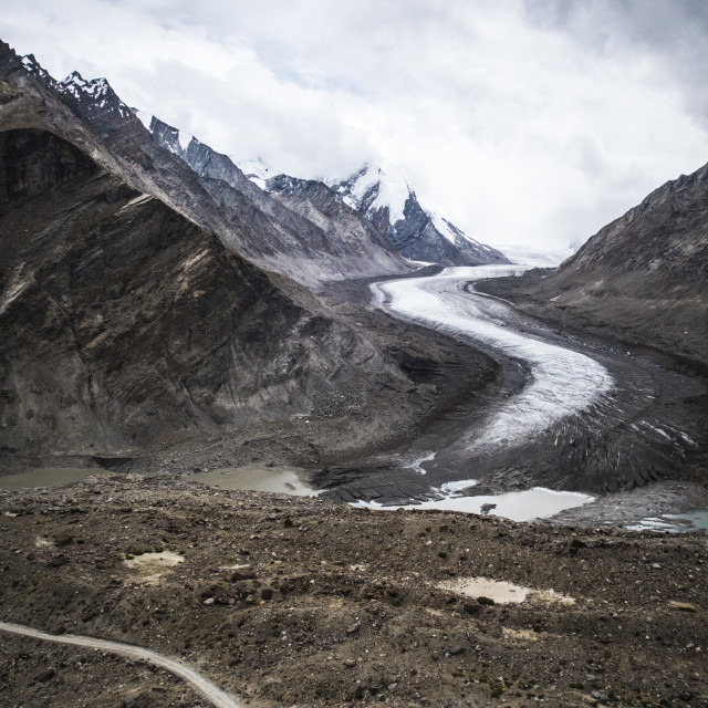 """""""Dropping down from penzi La, looking at the glacial moraine that feeds into..."""" stock image"""