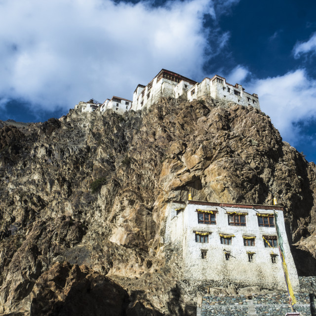 """View of Kharsha Monastery from uphill walkway to Kachod Drub Ling Nunnery...."" stock image"