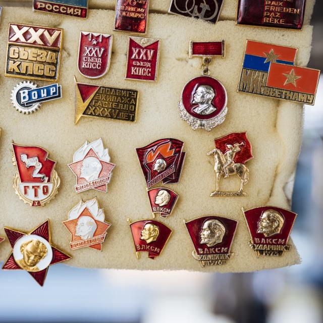 """Souvenir Communist badges for sale, Riga Central Market, Riga, Latvia, Baltic..."" stock image"