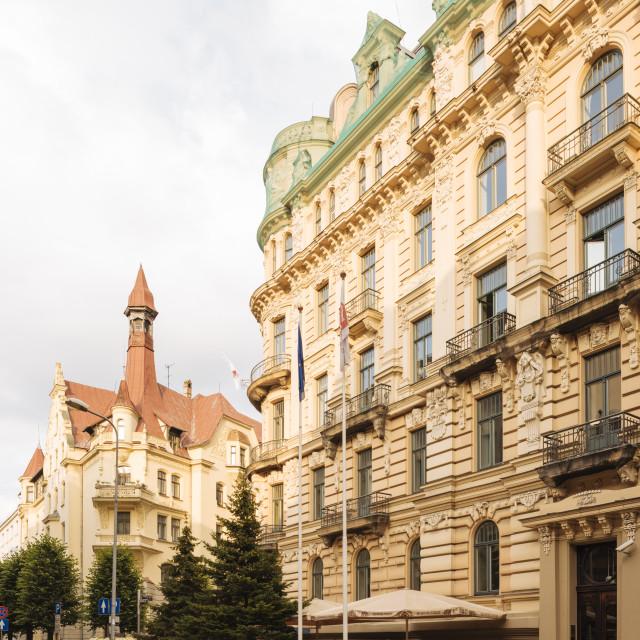 """Art Noveau architecture in Central Riga, Latvia, Baltic States, Europe"" stock image"