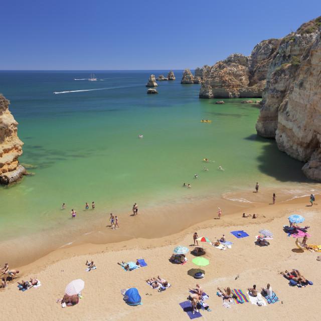 """Praia da Dona Ana beach, Atlantic ocean, near Lagos, Algarve, Portugal"" stock image"
