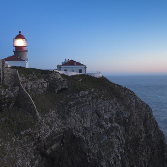 """Lighthouse at Cabo de Sao Vicente, Sagres, Algarve, Portugal"" stock image"