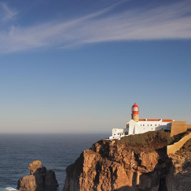 """Lighthouse at sunrise, Cabo de Sao Vicente, Sagres, Algarve, Portugal"" stock image"