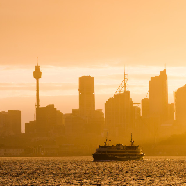 """Sydney city skyline looking towards the sun with ferry. New South Wales,..."" stock image"