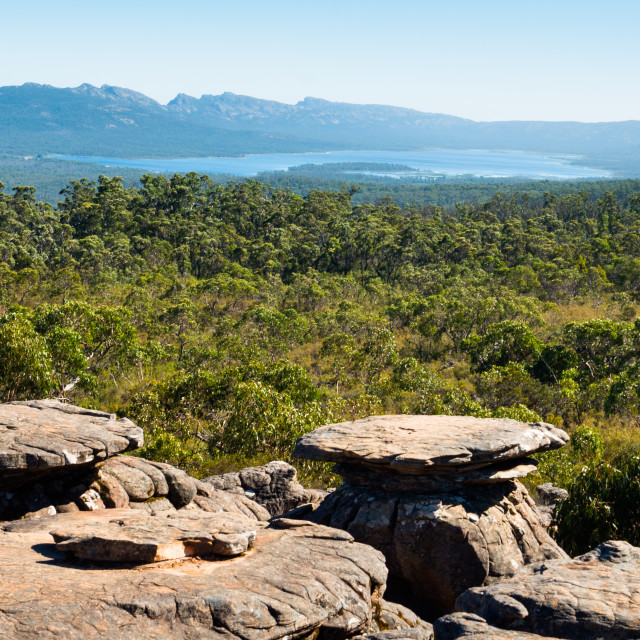 """The Grampians National Park seen from Reed Lookout, Victoria, Australia."" stock image"