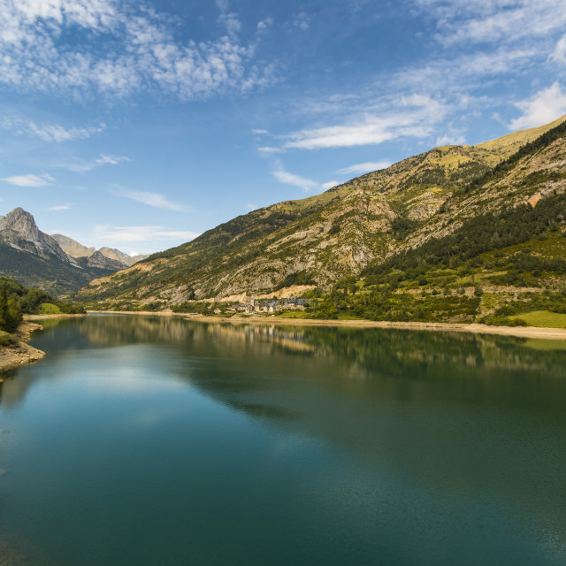 """Lanuza lake & village & Pena Foratata peak in the scenic upper Tena Valley...."" stock image"