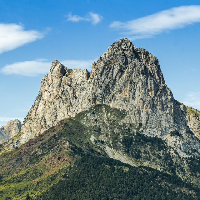 """2341m limestone peak Pena Foratata, a great landmark in scenic upper Tena..."" stock image"