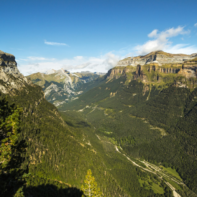 """""""View west of the Ordesa Valley glacial trough from the Faja de Pelay hiking..."""" stock image"""