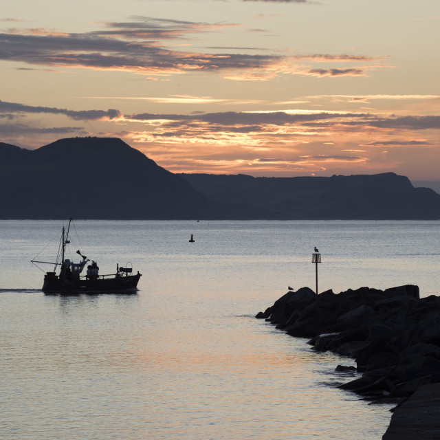 """Fishing boat sailing past The Cobb at sunrise with Golden Cap and Jurassic..."" stock image"