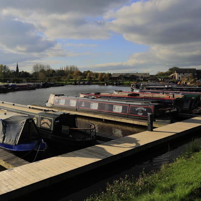 """""""Narrowboats in Great Haywood marina, Staffordshire, England, UK"""" stock image"""