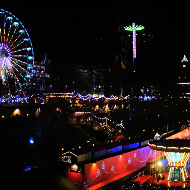 """Edinburgh Christmas Market at night"" stock image"