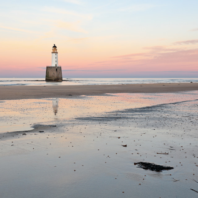 """Lighthouse Sunset - Rattray Head"" stock image"