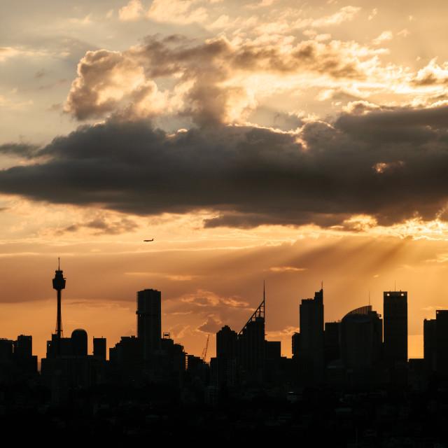 """Sydney Skyline silhouette"" stock image"