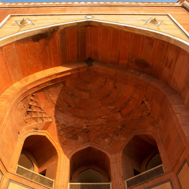 """Arch of an entrance gate in Humayun's Tomb"" stock image"