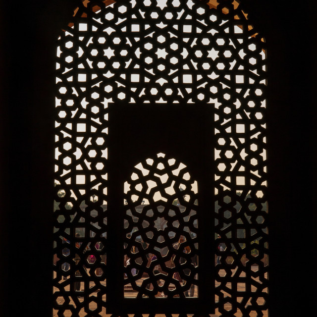 """Stone grating at Humayun's Tomb"" stock image"