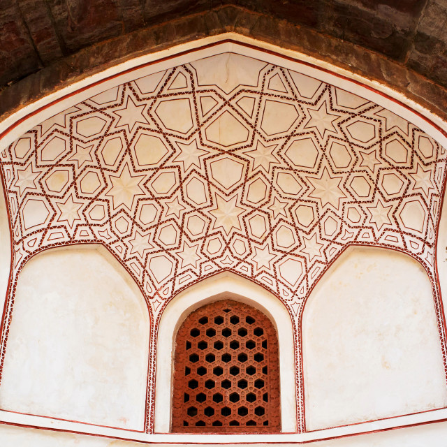 """View of a stone grating in a ventilation at Humayun's Tomb"" stock image"