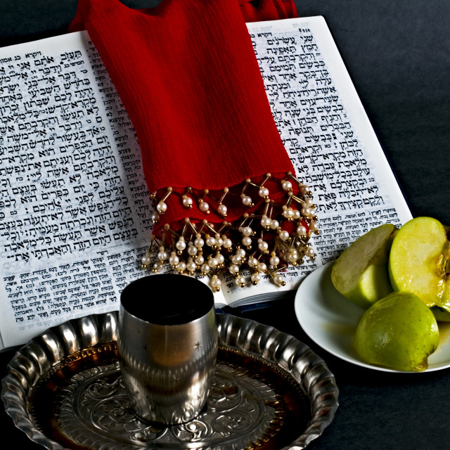 """""""Prayer book, Apple Honey, goblet"""" stock image"""