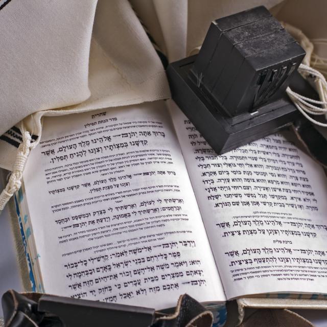 """Teffilin, Talith and Sidur for Jewish ritual"" stock image"