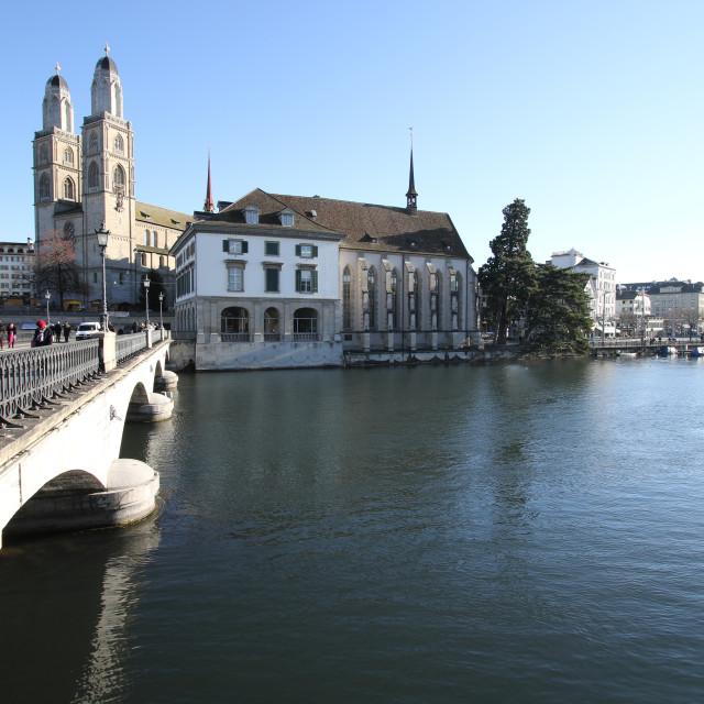 """""""Grossmünster, Wasserkirche and Münsterbrücke - Zürich, Switzerland"""" stock image"""