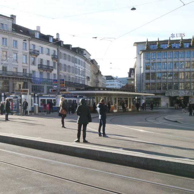 """Paradeplatz - Zurich Bahnhofstrasse Tram Junction"" stock image"