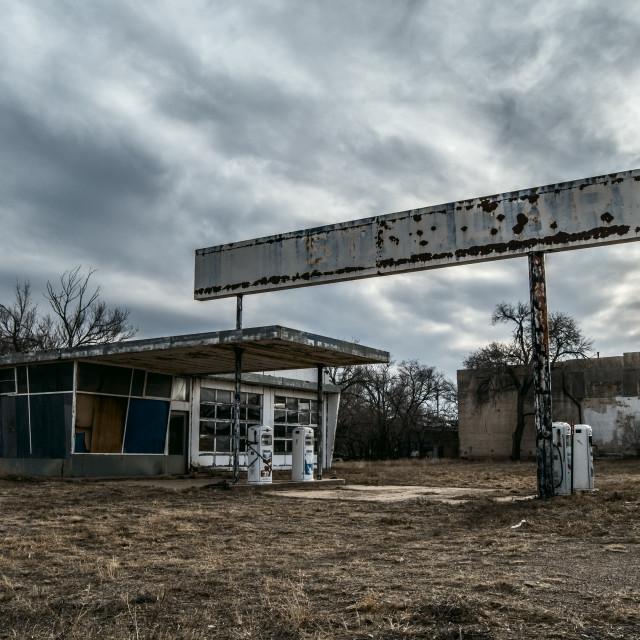 """""""Abandoned gas station"""" stock image"""
