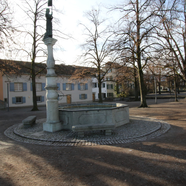 """Hedwig Fountain - Lindenhof, Zürich"" stock image"