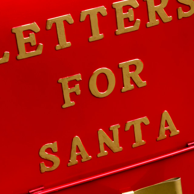 """Letters for Santa red mailbox"" stock image"