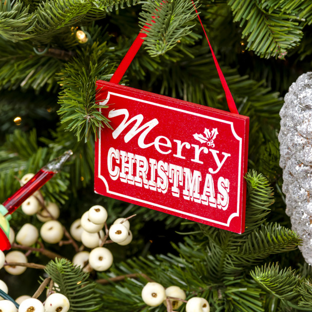 """Hanging Christmas ornaments on tree"" stock image"