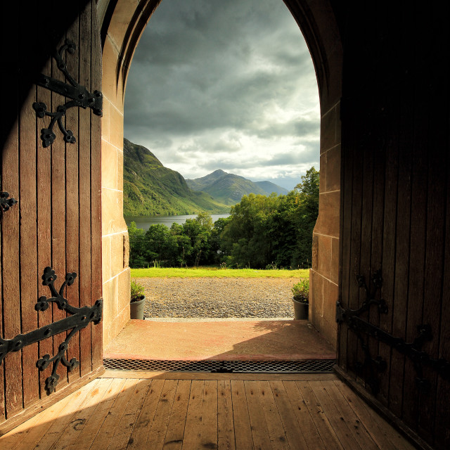 """Through the arched door"" stock image"