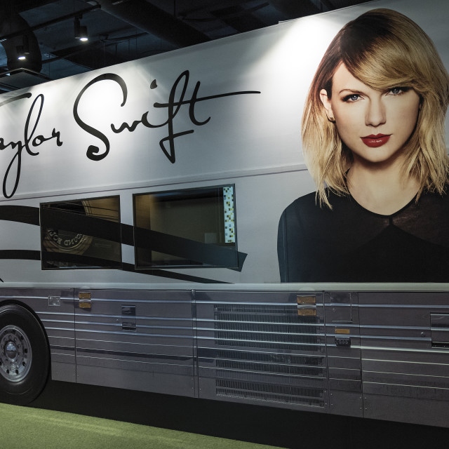 """Taylor Swift tour bus, Country Music Hall of Fame, Nashville"" stock image"