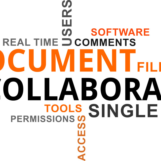"""""""word cloud - document collaboration"""" stock image"""